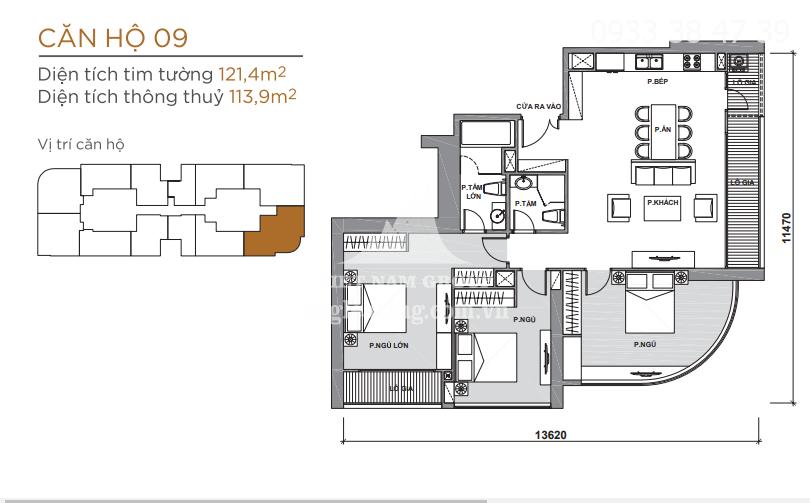 căn hộ Ba son tòa Aqua 2, đầy đủ nội thất 3 phòng ngủ