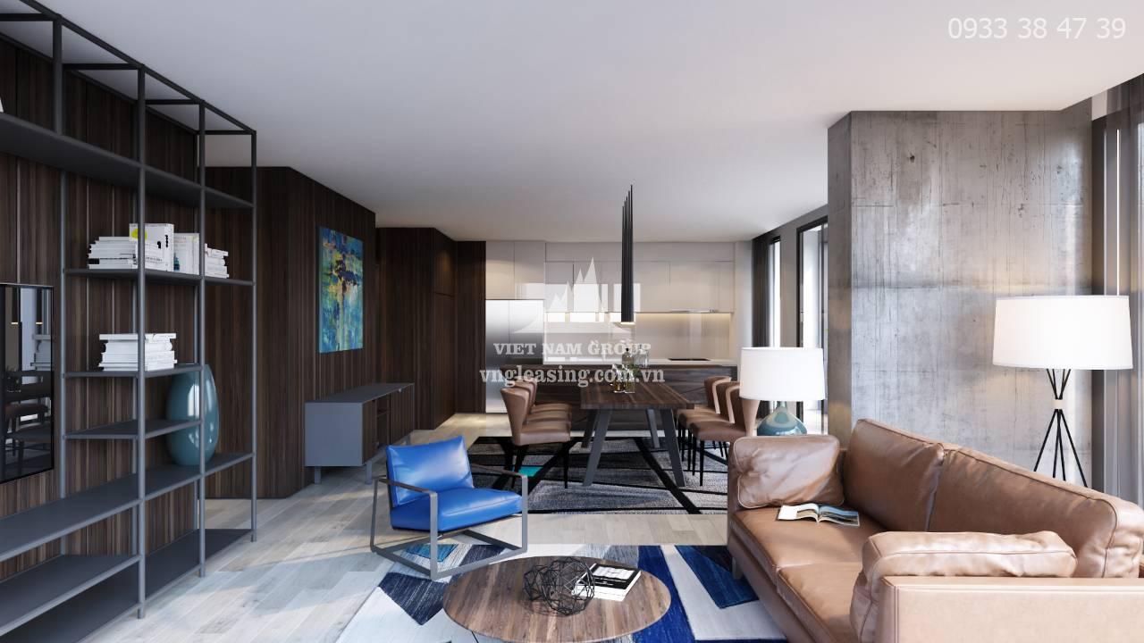 Cho thuê căn hộ Vinhomes Ba son tòa Aqua 2, full NT 3 PN, diện tích 121.4m2