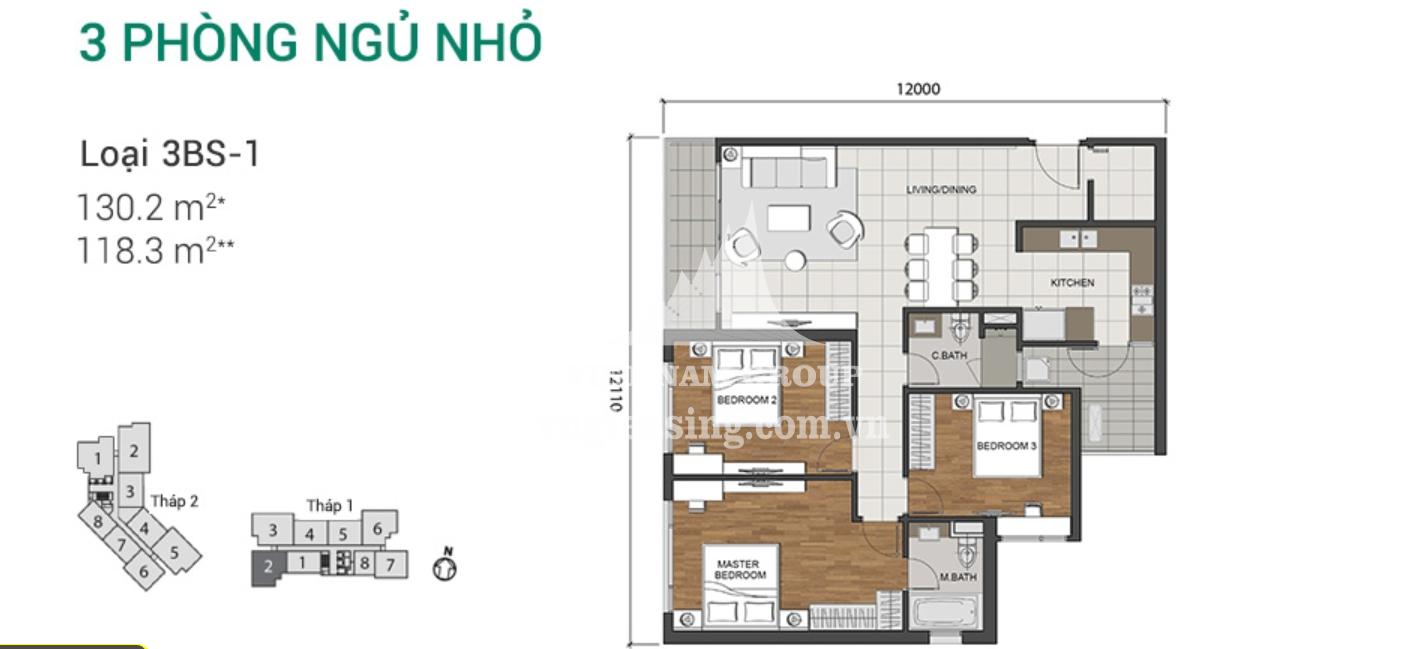 Bán căn hộ Estella Heights 3 phòng ngủ tầng thấp diện tích 130m2