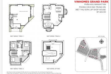 Cho thuê biệt thự đơn lập loại BT.02A-SH thiết kế 3 tầng 3 phòng ngủ
