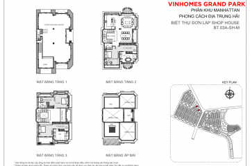 Cho thuê biệt thự đơn lập 3 tầng 3 phòng ngủ thuộc phân khu The Manhattan