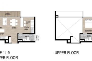 Cho thuê căn hộ Loft The Galleria Residence view nội khu 2 phòng ngủ