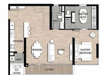 Căn góc The Crest Residence 2 phòng ngủ diện tích 98.25m2 cho thuê