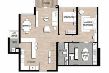 Thuê căn hộ Loft The Crest Residence 2 phòng ngủ tầng trung