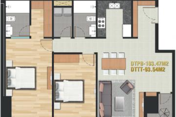 Cho thuê căn hộ chung cư Pearl Plaza tầng trung thiết kế 2 phòng ngủ