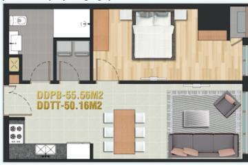 Cho thuê căn hộ Pearl Plaza 1 phòng ngủ diện tích 55.56m2 giá tốt