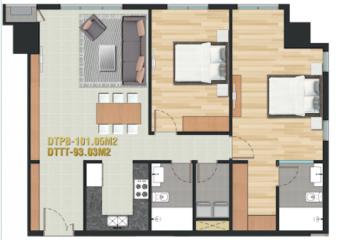 Căn hộ Pearl Plaza tầng cao thiết kế 2 phòng ngủ cần sang nhượng