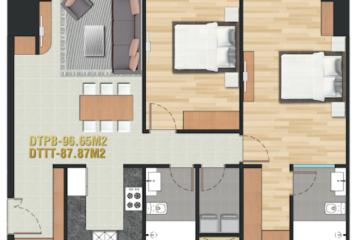 Căn hộ Pearl Plaza quận Bình Thạnh thiết kế 2 phòng ngủ cần cho thuê