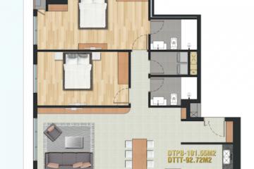 Cho thuê căn hộ Pearl Plaza nội thất đầy đủ 2 phòng ngủ giá tốt