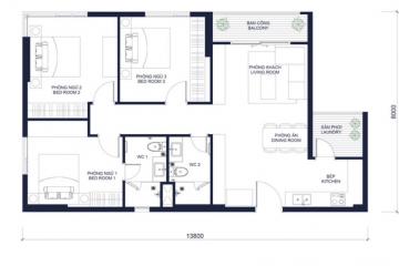 Căn góc 3 phòng ngủ Millennium diện tích 97.87m2 cho thuê giá tốt