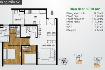Căn hộ Ascent Thảo Điền diện tích vừa với 2 phòng ngủ cần bán