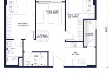 Cho thuê căn hộ 2 phòng ngủ dự án Millennium quận 4