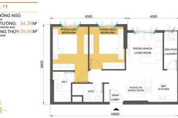 Bán căn hộ Masteri Thảo Điền tòa T1 thiết kế 2 phòng ngủ giá 4 tỷ