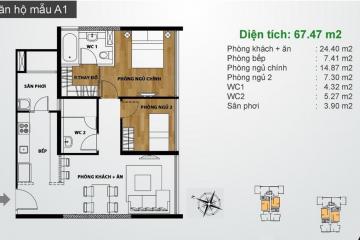 Sang nhượng căn hộ Ascent Thảo Điền tầng trung 2 phòng ngủ giá tốt