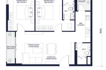 Cần cho thuê căn hộ Masteri Millennium Bến Vân Đồn 2 phòng ngủ
