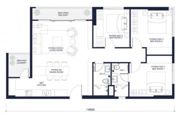 Thuê căn hộ Masteri Millennium 3 phòng ngủ diện tích 105.11m2 giá tốt