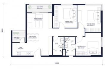 Cho thuê căn hộ Masteri Millennium diện tích lớn 3 phòng ngủ