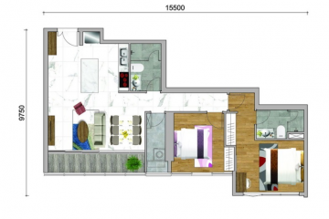 Căn hộ Sunwah Pearl nội thất cơ bản 2 phòng ngủ cần chuyển nhượng