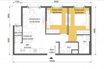 Bán căn hộ chung cư Masteri Thảo Điền tòa T1 2 phòng ngủ full nội thất