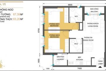 Chuyển nhượng căn góc Masteri Thảo Điền tòa T1 diện tích 67.29m2