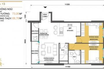 Căn hộ Masteri Thảo Điền tòa T3 thiết kế 2 phòng ngủ cần cho thuê