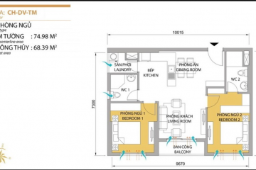Căn hộ chung cư Masteri Thảo Điền tòa T5 diện tích 74.98m2 cho thuê
